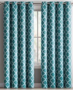 HLC.ME Lattice Insulated Blackout Teal Blue Curtains